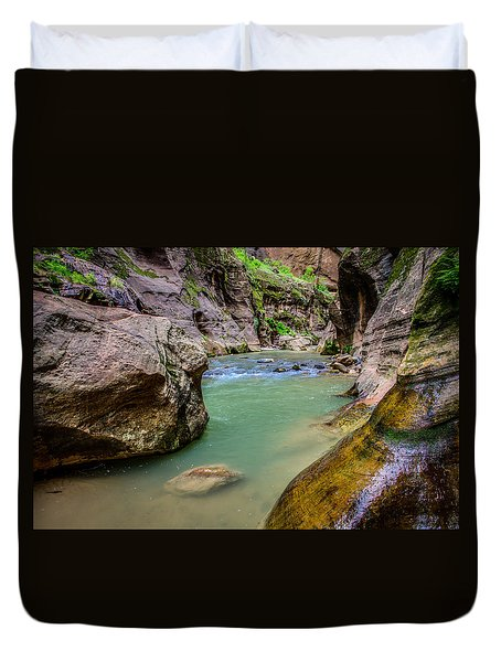 Wall Street Hiking Zion National Park Duvet Cover