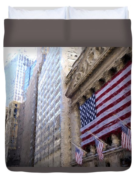 Wall Street, Nyc Duvet Cover by Matthew Ashton