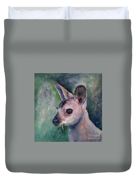 Wallaby Grazing Duvet Cover