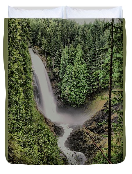 Duvet Cover featuring the photograph Wallace Falls by Jeff Swan