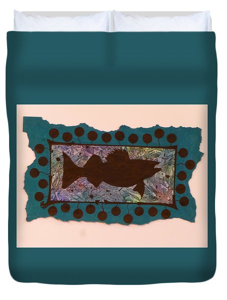 Walleye Silhouette Duvet Cover