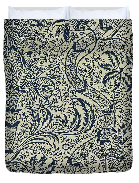 Wallpaper With Navy Blue Seaweed Style Design Duvet Cover