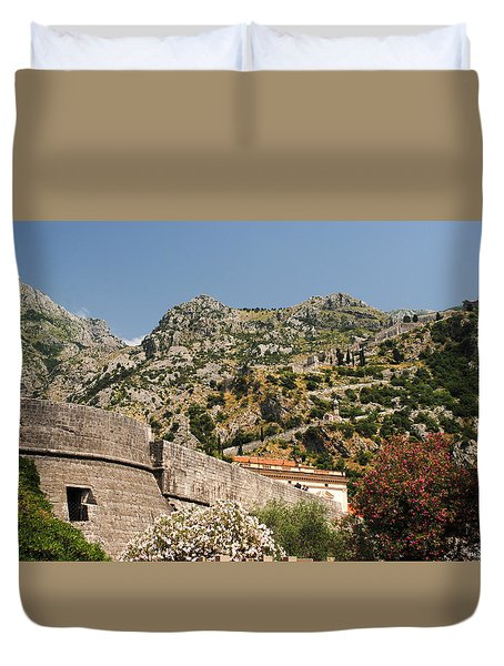 Duvet Cover featuring the photograph Walls Of Kotor by Robert Moss