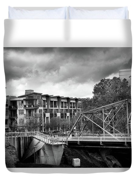 Walnut And Glass Bridge In Black And White Duvet Cover