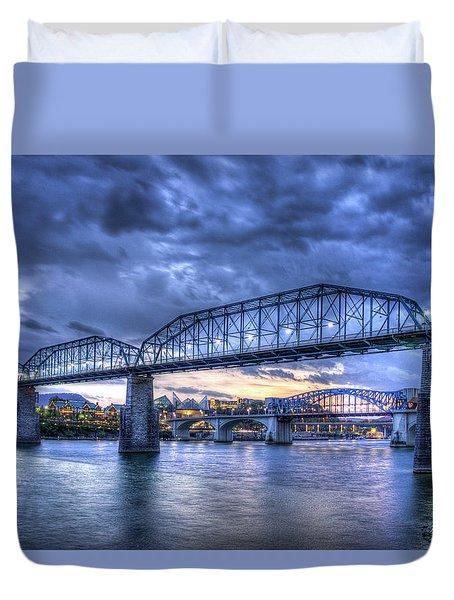 Walnut Street Pedestrian Bridge Sunset Chattanooga Tennessee Art Duvet Cover