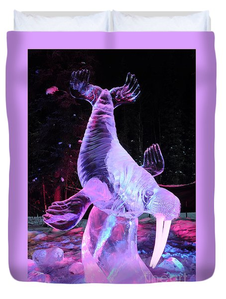 Duvet Cover featuring the photograph Walrus Ice Art Sculpture - Alaska by Gary Whitton