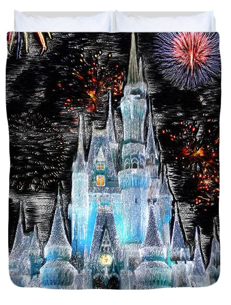 Walt Disney World Frosty Holiday Castle Mp Duvet Cover