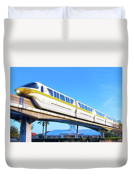 Duvet Cover featuring the photograph Walt Disney World Monorail by Mark Andrew Thomas