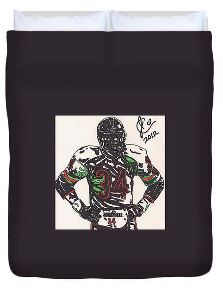 Walter Payton Duvet Cover by Jeremiah Colley