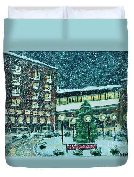 Duvet Cover featuring the painting Waltham Hospital On Hope Ave by Rita Brown