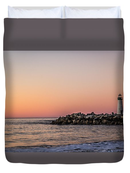Duvet Cover featuring the photograph Walton At Sunset by Lora Lee Chapman