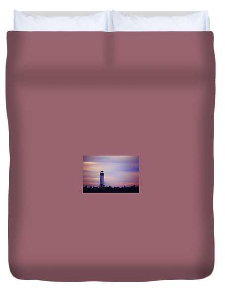 Duvet Cover featuring the photograph Walton Lighthouse by Lora Lee Chapman