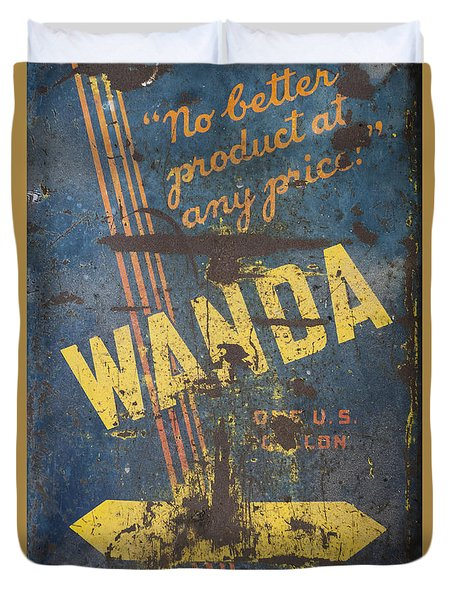 Wanda Motor Oil Vintage Sign Duvet Cover by Christina Lihani
