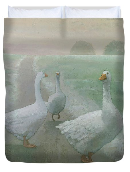 Wandering Geese Duvet Cover by Steve Mitchell
