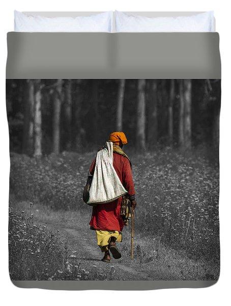 Wandering Holy Man Duvet Cover by Ramabhadran Thirupattur