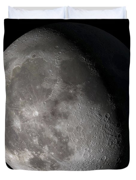 Duvet Cover featuring the photograph Waning Gibbous Moon by Stocktrek Images