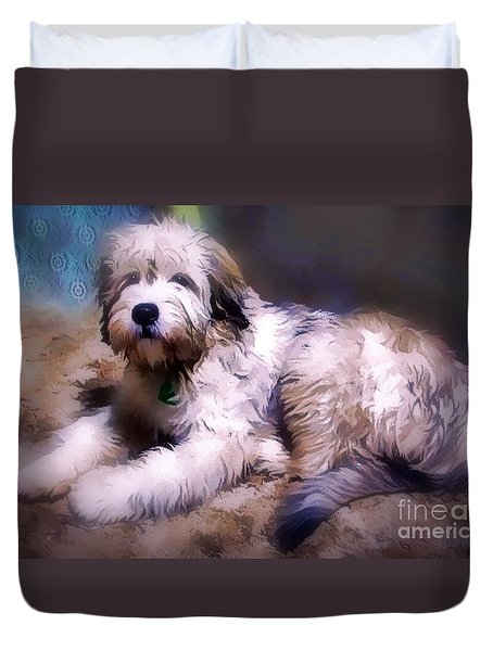 Duvet Cover featuring the digital art Want A Best Friend by Kathy Tarochione