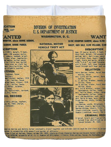 Wanted Poster - Bonnie And Clyde 1934 Duvet Cover by F B I