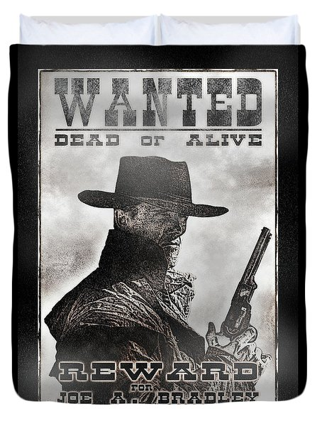 Wanted Poster Notorious Outlaw Duvet Cover