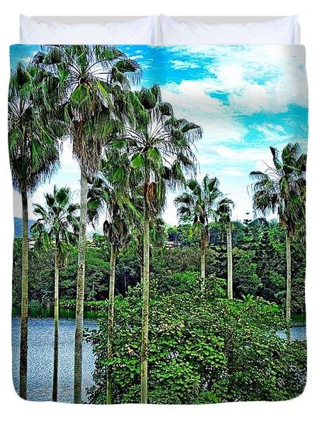Waokele Pond Palms And Sky Duvet Cover