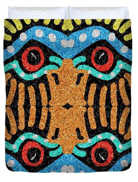War Eagle Totem Mosaic Duvet Cover