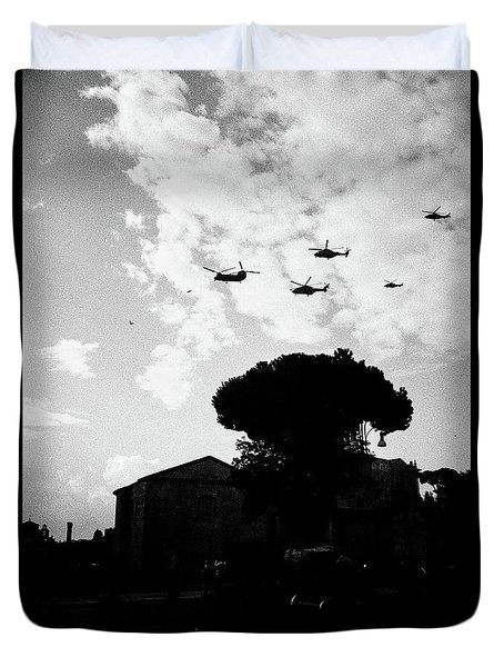 War Helicopters Over The Imperial Fora Duvet Cover