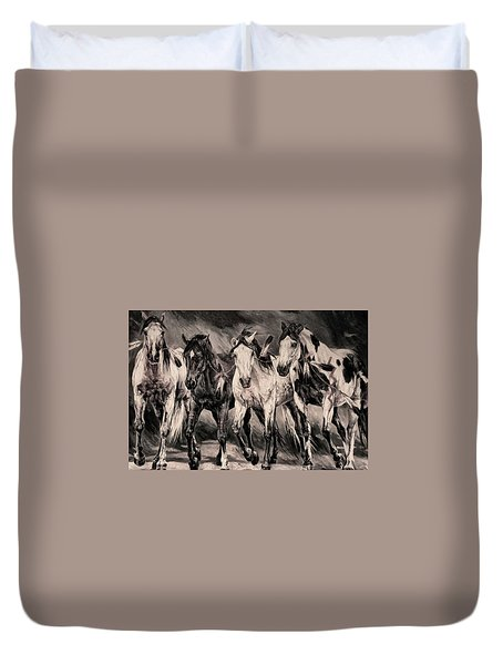 War Horses Duvet Cover by Dennis Baswell