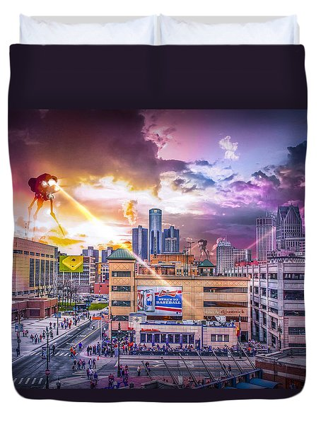 Duvet Cover featuring the photograph War Of The Worlds Detroit By Nicholas Grunas by Nicholas  Grunas