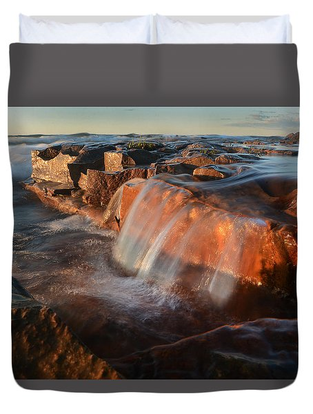 Wards Beach Waterfall-1 Duvet Cover