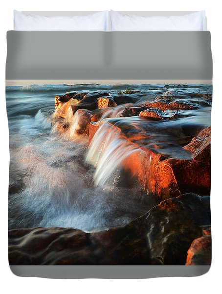Wards Beach Waterfall-2 Duvet Cover