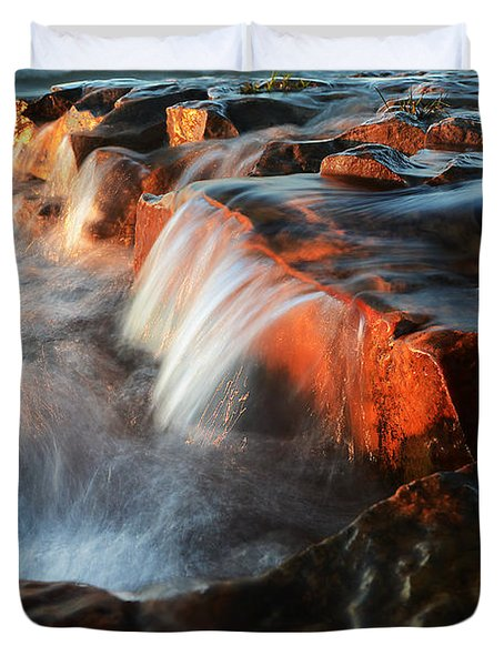Wards Beach Waterfall-3 Duvet Cover