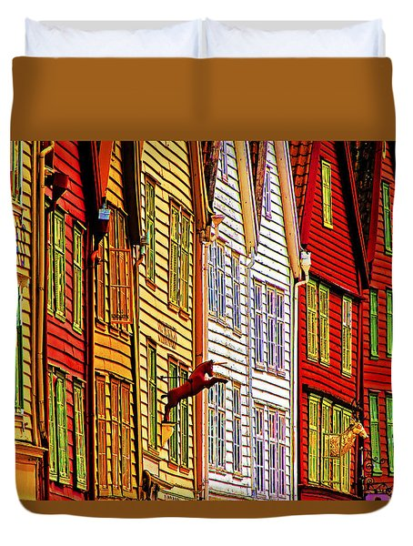 Warehouse Facades Duvet Cover