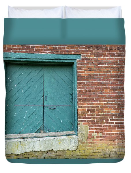 Warehouse Loading Door And Brick Wall Duvet Cover