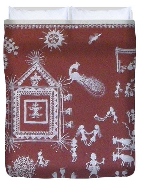 Warli Celebration Duvet Cover