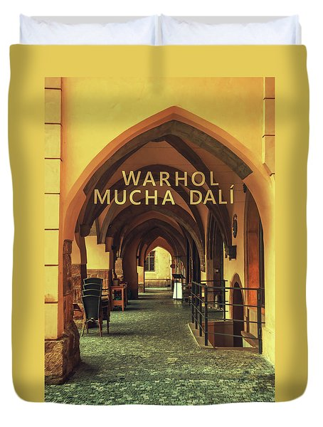 Duvet Cover featuring the photograph Warhol Mucha Dali. Series Golden Prague by Jenny Rainbow