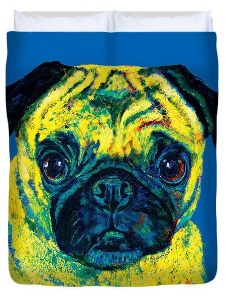 Warhol Pug Blue Duvet Cover