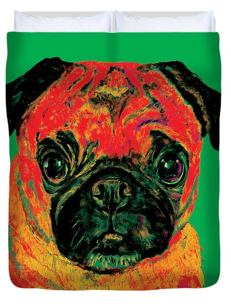 Warhol Pug Green Duvet Cover