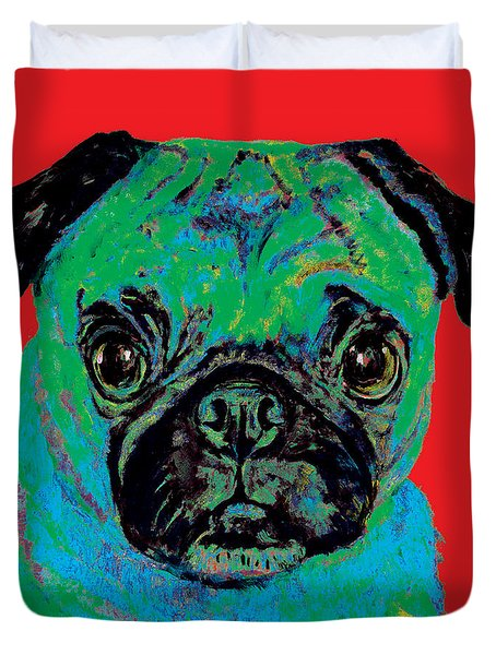 Warhol Pug Red Duvet Cover