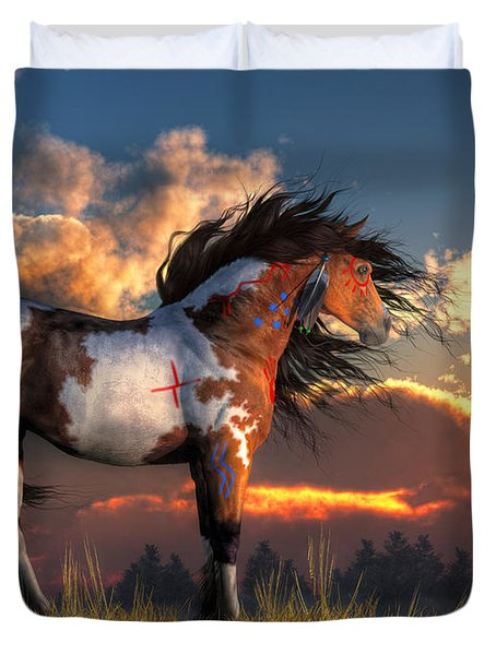 Duvet Cover featuring the digital art Warhorse by Daniel Eskridge