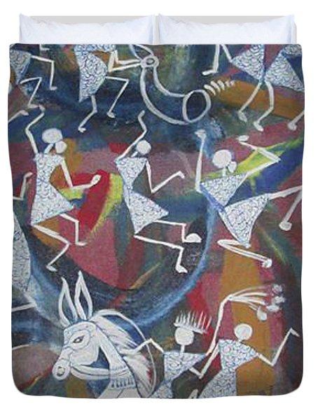 Warli Art Duvet Cover