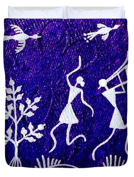 Warli Dance Duvet Cover