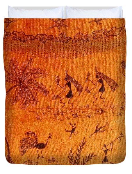 Warli Farming Duvet Cover