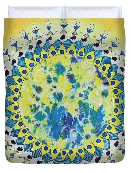 Warli Folk Painting Duvet Cover