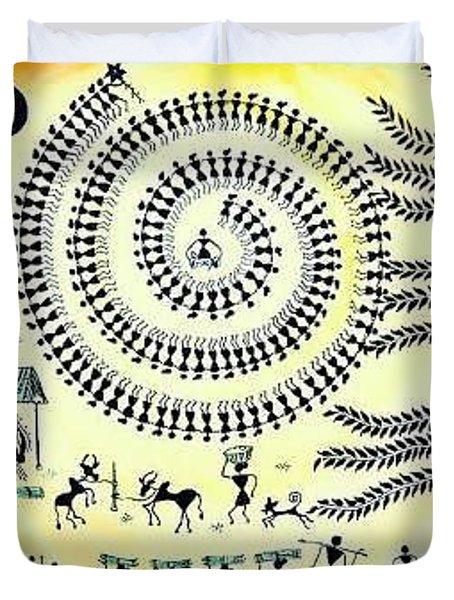 Warli Painting  Duvet Cover