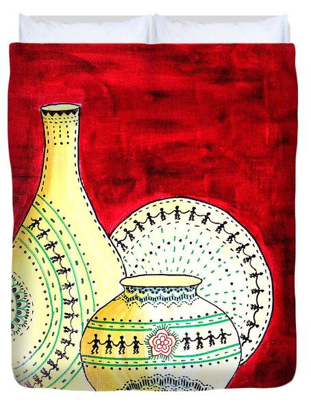 Warli Pots And Plate   Duvet Cover