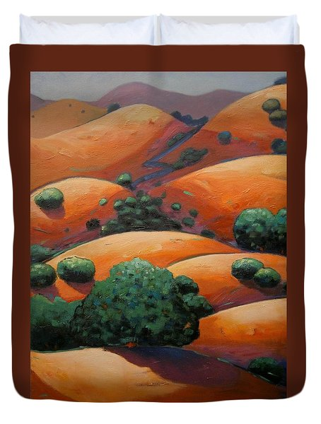 Warm Afternoon Light On Ca Hillside Duvet Cover by Gary Coleman
