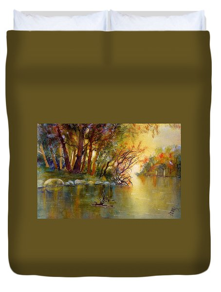 River Rhine In Autumn Duvet Cover