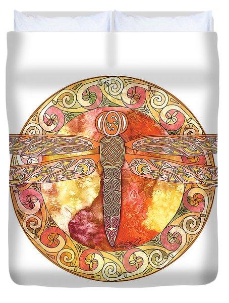 Warm Celtic Dragonfly Duvet Cover