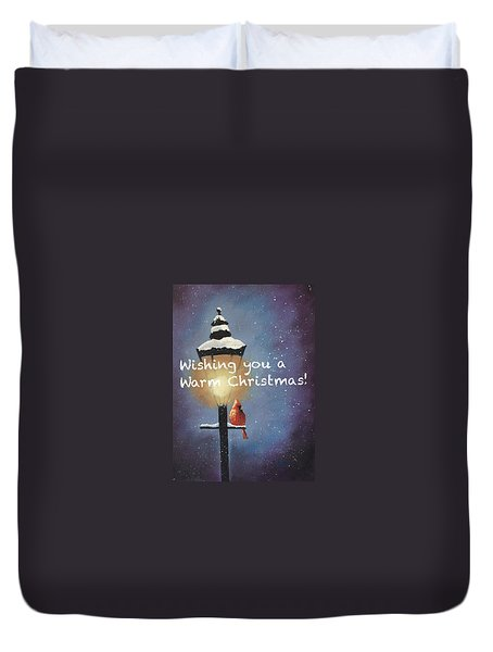 Duvet Cover featuring the painting Warm Christmas by Sharon Mick