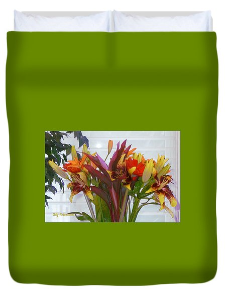 Warm Colored Flowers Duvet Cover